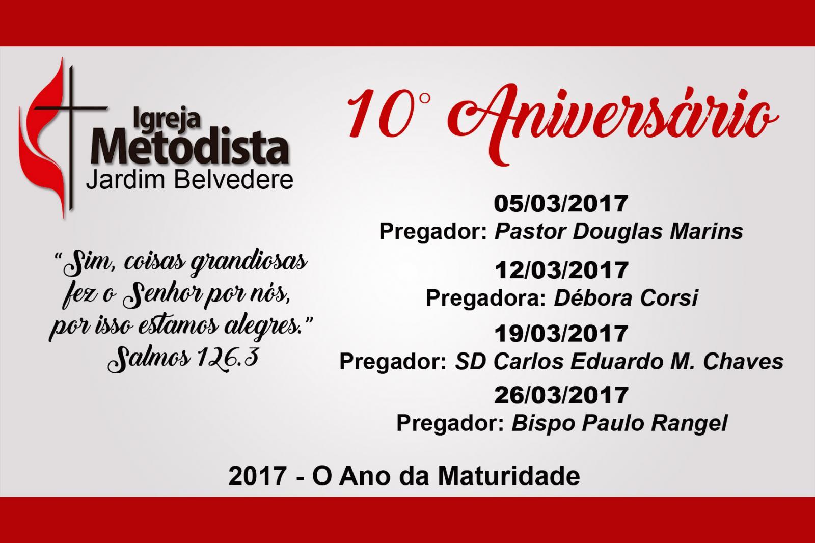 10° Aniversário da Igreja Metodista no Jardim Belvedere